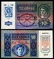 CZE-1-Republika Ceskoslovenska-10 Korun (1919, Provisional issue).jpg