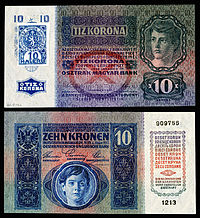 CZE-1-Republika Ceskoslovenska-10 Korun (1919, foreløpig utgave) .jpg