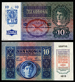 Republic of Czechoslovakia 10 Korun note (1919, provisional and first issue).