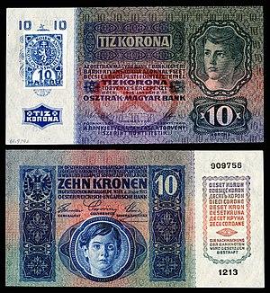 Czechoslovak koruna - Image: CZE 1 Republika Ceskoslovenska 10 Korun (1919, Provisional issue)