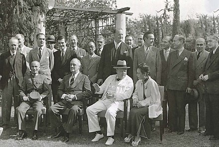 Chiang Kai-shek, Franklin D. Roosevelt, and Winston Churchill meeting at the Cairo Conference in 1943 Cairo Conference Participants.jpg