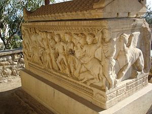 Eleusis - Marble sarcophagus with a relief about the hunt of the Calydonian boar on its main face (2nd century AC), in the Archaeological Museum of Eleusis.