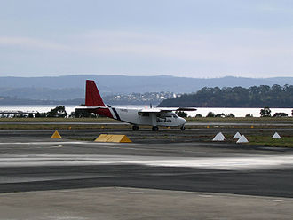 Cambridge Aerodrome - A tourist plane taking off from Cambridge Airport, Hobart, Tasmania