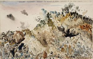 Battle of Wadi Akarit - Image: Cameron Highlanders Storming the Heights of Jebel Ramauna at the Wadi Akarit Art.IWMARTLD3404