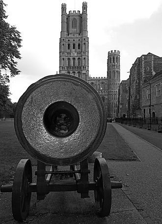 Ely, Cambridgeshire - This cannon was captured during the Crimean War at the Siege of Sevastopol (1854–1855) and was presented to the people of Ely by Queen Victoria in 1860. It is located on the Palace Green west of Ely Cathedral and northwest of the Bishop's Palace.