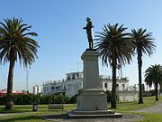 Captain Cook memorial statue at the Catani Gardens St Kilda, Victoria, Australia