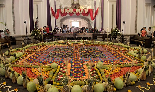 Carpet and decoration for Semana Santa in church La Merced in Antigua, Guatemala