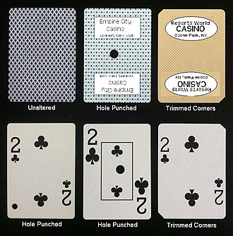 Card marking - Casinos alter playing cards used at table games before they are sold or given away to prevent cheaters from buying them to cheat at table games.