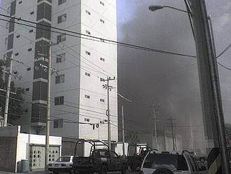 2011 Monterrey casino attack - Smoke rises during the fire.