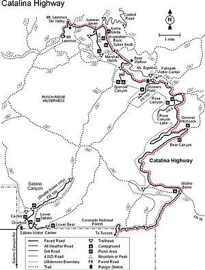 Catalina Highway - Image: Catalina Highway Map