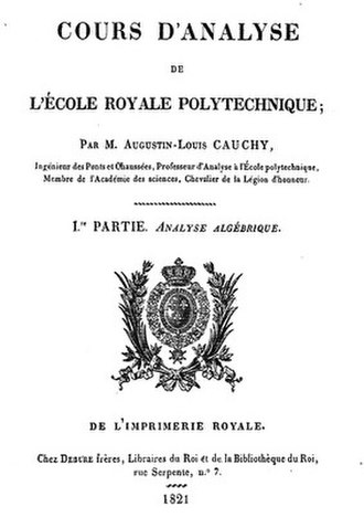 Augustin-Louis Cauchy - The title page of a textbook by Cauchy.