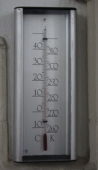 Kelvin - A thermometer calibrated in degrees Celsius (left) and kelvins (right).