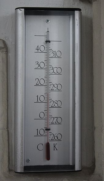 A thermometer calibrated in degrees Celsius (left) and kelvins (right). CelsiusKelvinThermometer.jpg