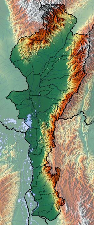Bucaramanga-Santa Marta Fault - Topography of Cesar