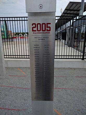 John McDonnell Field - One of the 52 pillars in the Championship Garden celebrating Arkansas' NCAA Championship teams. At night each pillar is illuminated.