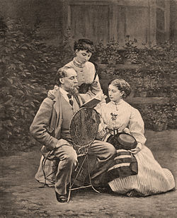 Charles Dickens with his two daughters by Mason & Co (Robert Hindry Mason).jpg