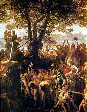 Aventicum - Die Helvetier zwingen die Römer unter dem Joch hindurch (The Helvetians force the Romans to pass under the yoke). Romantic painting by Charles Gleyre (19th century) celebrating the Helvetian victory over the Romans at Agen (107 BC) under Divico's command.