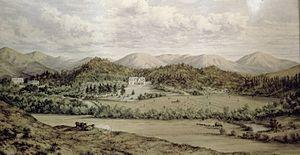 William Robinson (runholder) - The original Cheviot Hills homestead in ca 1870
