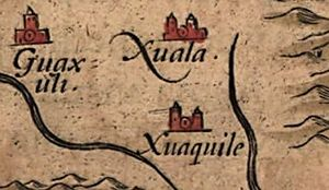 Joara - Detail of Joara (spelled Xuala) and neighboring villages on Chiaves' 1584 map of La Florida