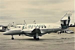 Chicago Express Airlines - A BAe Jetstream of Chicago Express airlines at Midway International Airport in 1994.