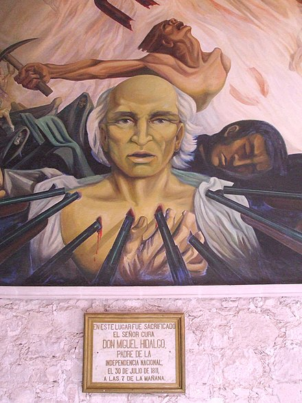 Memorial plaque at spot where Hidalgo was executed, in the Government Palace of Chihuahua. Mural by Aaron Pina Mora ChihHidalgo1.jpg