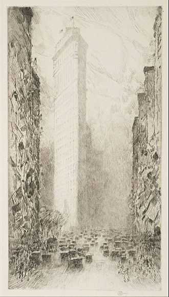 Washington's Birthday - Washington's Birthday—Fifth Avenue at 23rd Street, by Childe Hassam, 1916