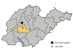Location of Tai'an City jurisdiction in Shandong