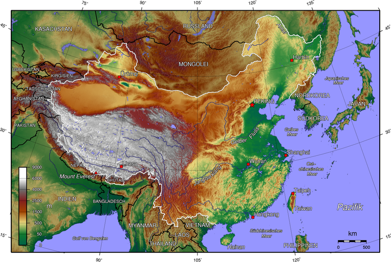 Topographic Map Of China File:China topo.png   Wikimedia Commons