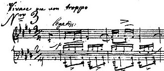Étude Op. 10, No. 3 (Chopin) - Clean copy manuscript of Chopin's Etude Op. 10 No.3 with the tempo indication Vivace ma non troppo (and legatissimo).