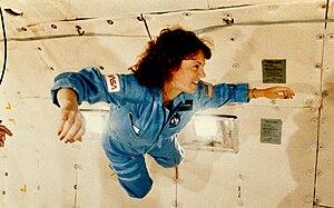 "Christa McAuliffe - McAuliffe undergoing pre-flight training experiences weightlessness during a KC-135 ""vomit comet"" flight"