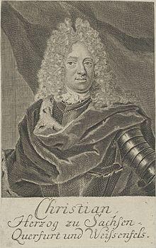 Herzog Christian von Sachsen-Weißenfels im Harnisch und Hermelinmantel und mit Allongeperücke als Zeichen fürstlicher Würde (Quelle: Wikimedia)