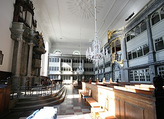 Christian's Church, Copenhagen - The church's interior, wider than it is long