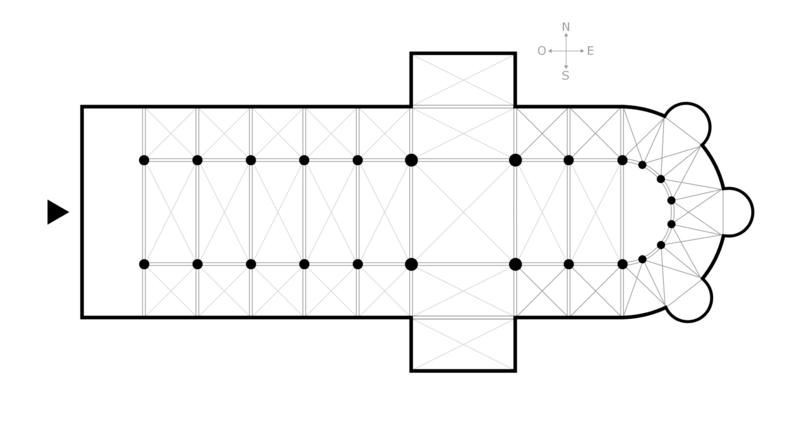 Plan d'une église en croix latine. image de Lusitana.