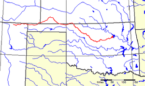 Cimarron River (Arkansas River tributary) - The Cimarron River (highlighted in red) flows through four states in the American West.