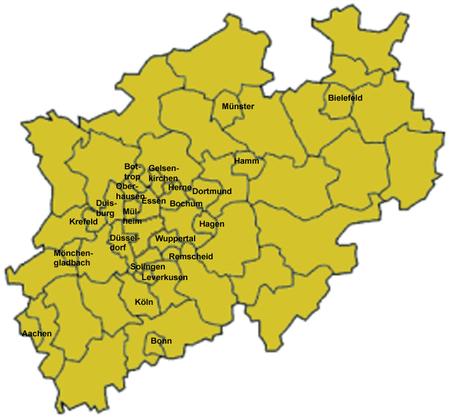 Karte der Stadtkreise in Nordrhein-Westfalen