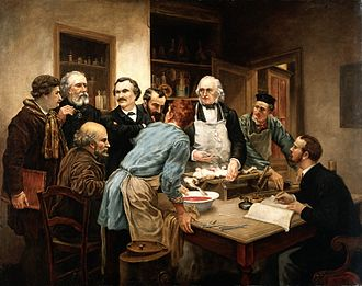 Physiology - Oil painting depicting Claude Bernard, the father of modern physiology, with his pupils