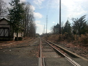 Closter, New Jersey - The former station depot of the Erie Railroad's Northern Branch as seen from the crossing of County Route 502 (High Street) in Closter