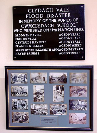 Clydach Vale - Commemorative plaque and photo montage at Clydach Vale School