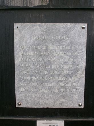 Colon Street - Image: Colon Street Historical Marker in Cebuano text