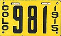Colorado 1915 license plate - Number 981.jpg