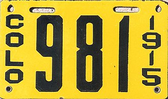 Vehicle registration plates of Colorado - Image: Colorado 1915 license plate Number 981