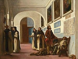 La Rábida Friary - Columbus and His Son at La Rábida (1838, Eugène Delacroix)