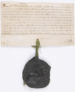 Theobald I of Navarre - An original charter and seal of Theobald's, confirming the sale of a wood to the abbey of Saint-Denis.