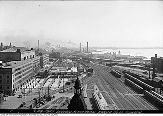 Railway Lands - Toronto's third Union Station nearing its completion, next to the Union Station Rail Corridor, 1927.