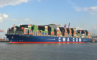 CMA CGM Vasco de Gama - Container ship CMA CGM Vasco da Gama in the port of Hamburg in September 2015