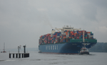 Container ship Hyundai Smart on the river Elbe Destination Hamburg.png