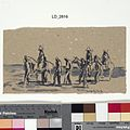 Cook's delicate drawing expresses the essence of captivity; the captors and their prisoners forming a timeless group, isolated in the empty desert landscape. The artist does not dwell on the undoubtedly harsh c Art.IWMARTLD2816.jpg