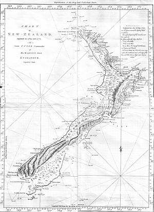 History of New Zealand - Map of the New Zealand coastline as Cook charted it on his first visit in 1769–70. The track of the Endeavour is also shown.