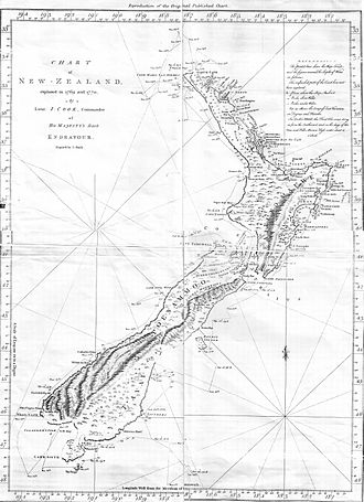 New Zealand - Map of the New Zealand coastline as Cook charted it on his first visit in 1769–70. The track of the Endeavour is also shown.