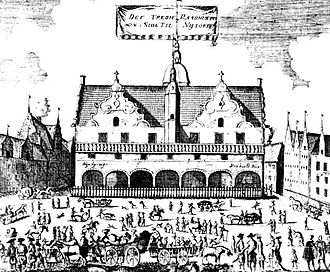 Copenhagen City Hall (1479–1728) - The City Hall after the rebuilding as seen from Nytorv